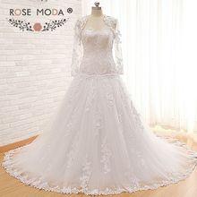 Wysokiej jakości spadek talia wenecja koronki suknia ślubna z odpinaną długie rękawy koronki kurtka gorset powrót suknia balowa prawdziwe zdjęcia
