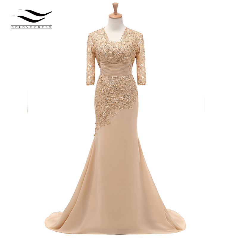 Three Quarters Sleeves Champagne Mermaid Lace Formal Evening Dress With Jacket Mother Of Bride Gown For Wedding Party SL-M002(China)