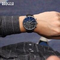 BAOGELA męskie oglądać najlepsze marki luksusowe kwarcowe zegarki z okrągłą tarczą skórzany pasek zegarek na rękę dla człowieka 1706 w Zegarki kwarcowe od Zegarki na