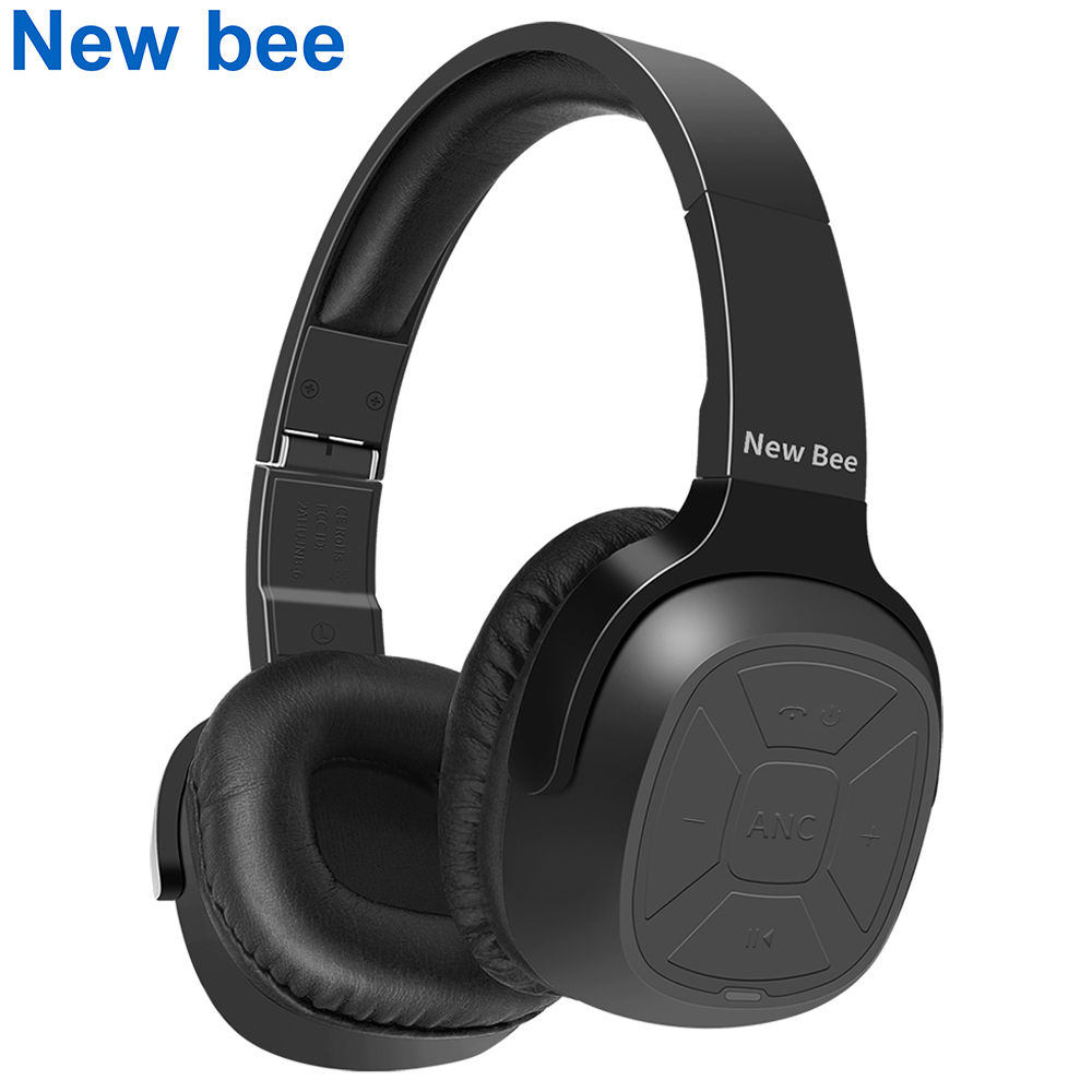 New Bee Active Noise Cancelling ANC Stereo Foldable Headset Wireless Bluetooth Headphone with Microphone for Phone PC TV new bee nb 6 foldable bluetooth headset red
