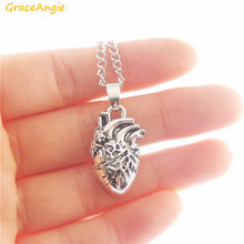 GraceAngie 1pc 2pcs Antique Silver Human Heart Organ One Side Vivid Pendant Necklace Alloy Link Chain Punk Women Men Jewelry