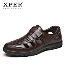New Fashion Genuine Leather Men's Sandals Retro Rome Shoes Men Summer Classics Footwear Male Beach Shoes Black #XP007