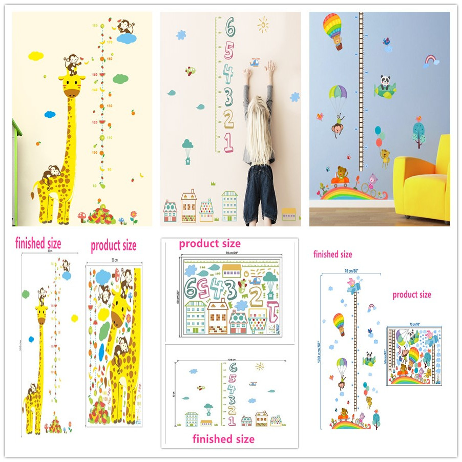 Cartoon Pvc Animals Height Measure Wall Sticker Kids Rooms Growth