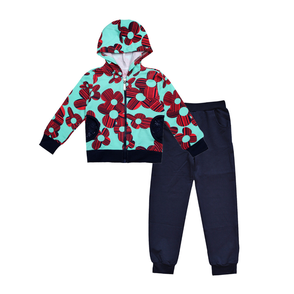 New 2016 fashion Children clothing sets for kids girl long sleeve Floral sweater hooded jackets ...