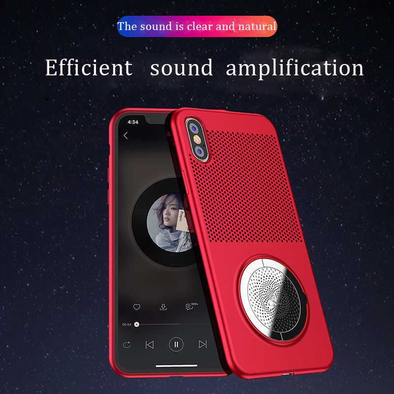 NOHON Thin Soft Case for iPhone X Mobile Protective Case with Hidden Kickstand and Radiating function/New Design Sound effect