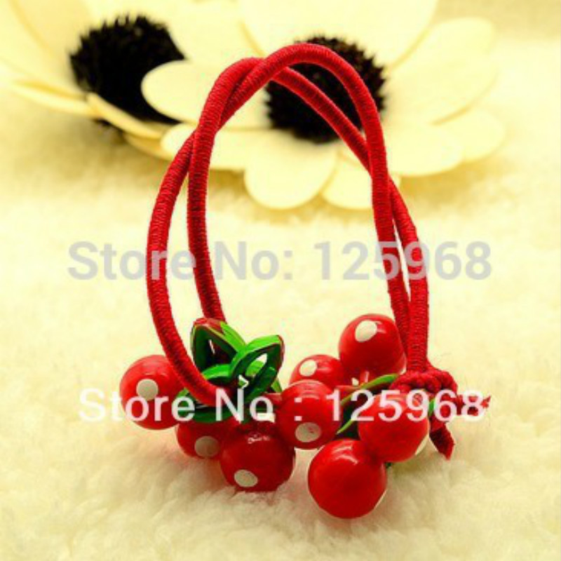 Free Shipping,2018 New MOQ=50pcs Girls Tiny Hair Accessaries,Red Cerry Design,Hair Bands Elastic Ties Ponytail Holder