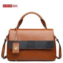 ZOOLER 2017 New Genuine Leather women's Handbag Cowhide Shoulder Bag Women Messenger Bag Black and Brown Color Bags #CJ-6986