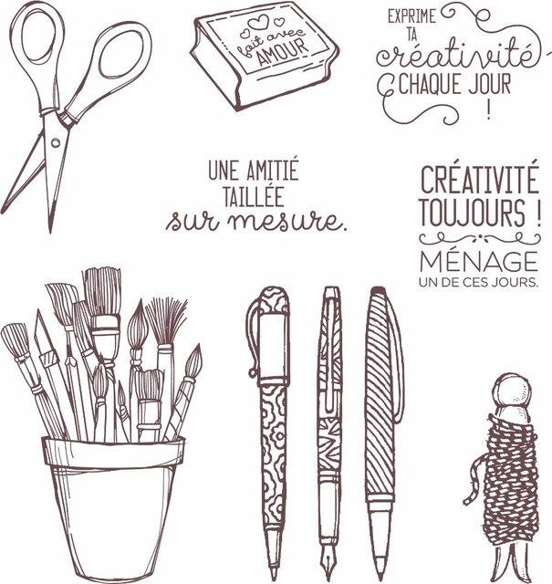 Palavras em francês Do Vintage caneta titular de Silicone Transparente Claro Selo/Selo para scrapbooking DIY/