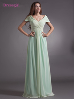 Mint Green 2018 Mother Of The Bride Dresses A Line Cap Sleeves Chiffon Backless Long Elegant