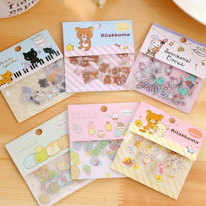 80Pcs/pack ZAKKA Japan Rilakkuma & His Circus Friends Series Sticker Pack Students' Decoration Label Stationery & Gift