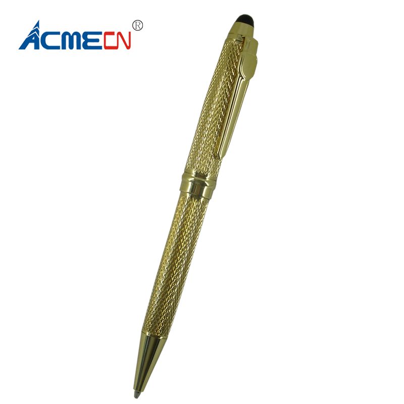 ACMECN New Carved Design Ball Pen Retractable Twist Action Plating Metallic Grey Pens 1 0mm Writing Point Unisex Stationery Gift in Banner Pens from Office School Supplies