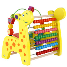 Multifunctional small deer Wooden Bead Beaded calculation turnover bracket early childhood educational toys Math Toys