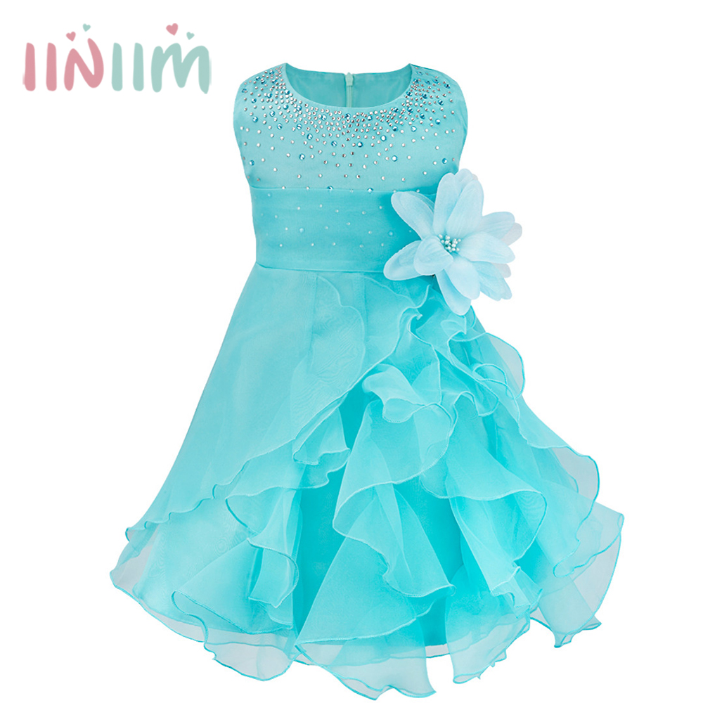 Iiniim Infantil Baby Girls Wedding Dress Baptism Christening Gown Pageant Dress With Pearls Toddler Kids Princess Party Clothes