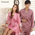 Luxurious Long Silk Robes For Women Nightgown Stitch Love Robe Sets Couple Mens Pyjamas Women Nightwear Lounge Robes 2 piece