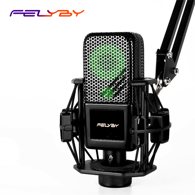 FELYBY BM1000 Luminous Professional Condenser Karaoke Microphone for Computer/Phone Studio 3.5mm Recording Podcast Microphone