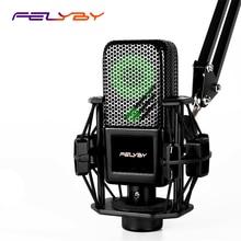 цена на FELYBY BM1000 Professional Condenser Karaoke Microphone for Computer/Phone Studio 3.5mm Recording Podcast microfone condensador