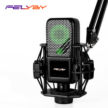 FELYBY BM1000 Professional Condenser Karaoke Microphone for Computer/Phone Studio 3.5mm Recording Podcast microfone condensador(China)