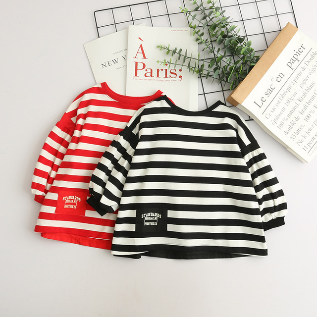 4779cec294598 US $68.62 6% OFF|Toddler Girl White Stripe Sweatshirts Wholesale Lots Bulk  Clothes For Kids Casual Sweatshirt Long Top For Spring Autumn New 2018-in  ...