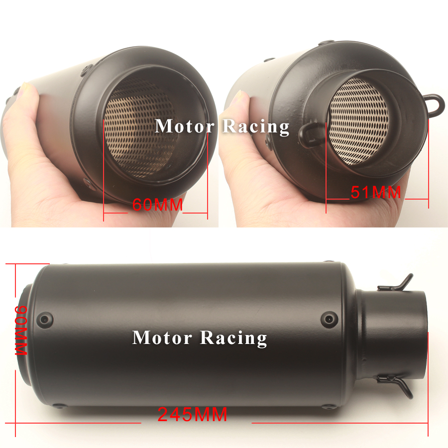 Motorcycle Exhaust Middle Pipe Escape MOTO Adapter Pipe Muffler SC for Kawasaki ER6N Full Exhaust Systems 2012 2013 2014 2015 in Exhaust Exhaust Systems from Automobiles Motorcycles