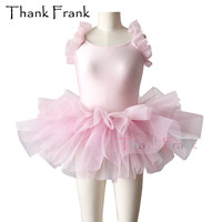 New Girls Pink Professional Ballet Tutu Dress With Sweet Bow At Back Kids Dance Costume C98