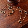Новый Горячий Моды Горячей Заявление Цепи Связанную Цепочку Ожерелье Позолоченный Four Leaf Clover Женщины Ювелирные Изделия с самым высоким рейтингом Bijoux N15600