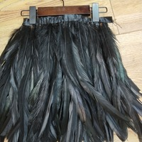 Black Rooster Hackle Feather Strung Trim 11 14 inch in Width for DIY Sewing Crafts Decoration 2 yards
