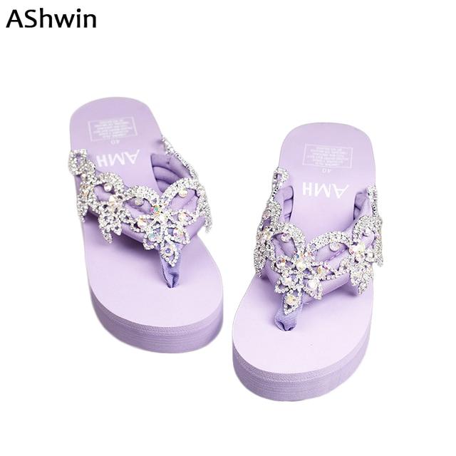 AShwin Baroque stylish glitter sandals women summer wedge platform thong  slippers handmade rhinestones shiny flip flops 10ae148a349c