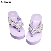 AShwin Baroque Stylish Glitter Sandals Women Summer Wedge Platform Thong Slippers Handmade Rhinestones Shiny Flip Flops