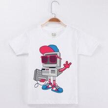 High Quality Cotton T Shirt Kids T-Shirts Boy Tshirt Fashion Short Sleeve Basic t-Shirt Creative Printed Robot Boys Tees