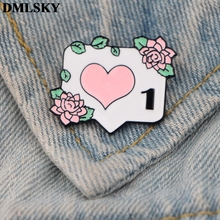 DMLSKY Fashion Enamel Pins and Brooches Heart pin Computer Icons brooch Like Button Pin Lapel Pin Backpack Bags Badge M3699 pink skeleton enamel pin punk cool skull brooch lapel pin simple icons pins button badge cartoon fashion jewelry gift