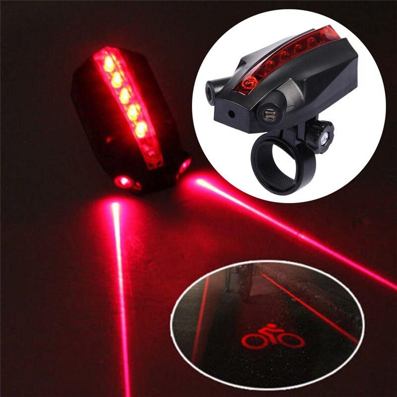 5 LED 2 lézer 4 üzemmód Bike Taillight vízálló kerékpár fordulatszám biztonsági figyelmeztető lámpa hátsó lámpa MTB közúti kerékpárhoz