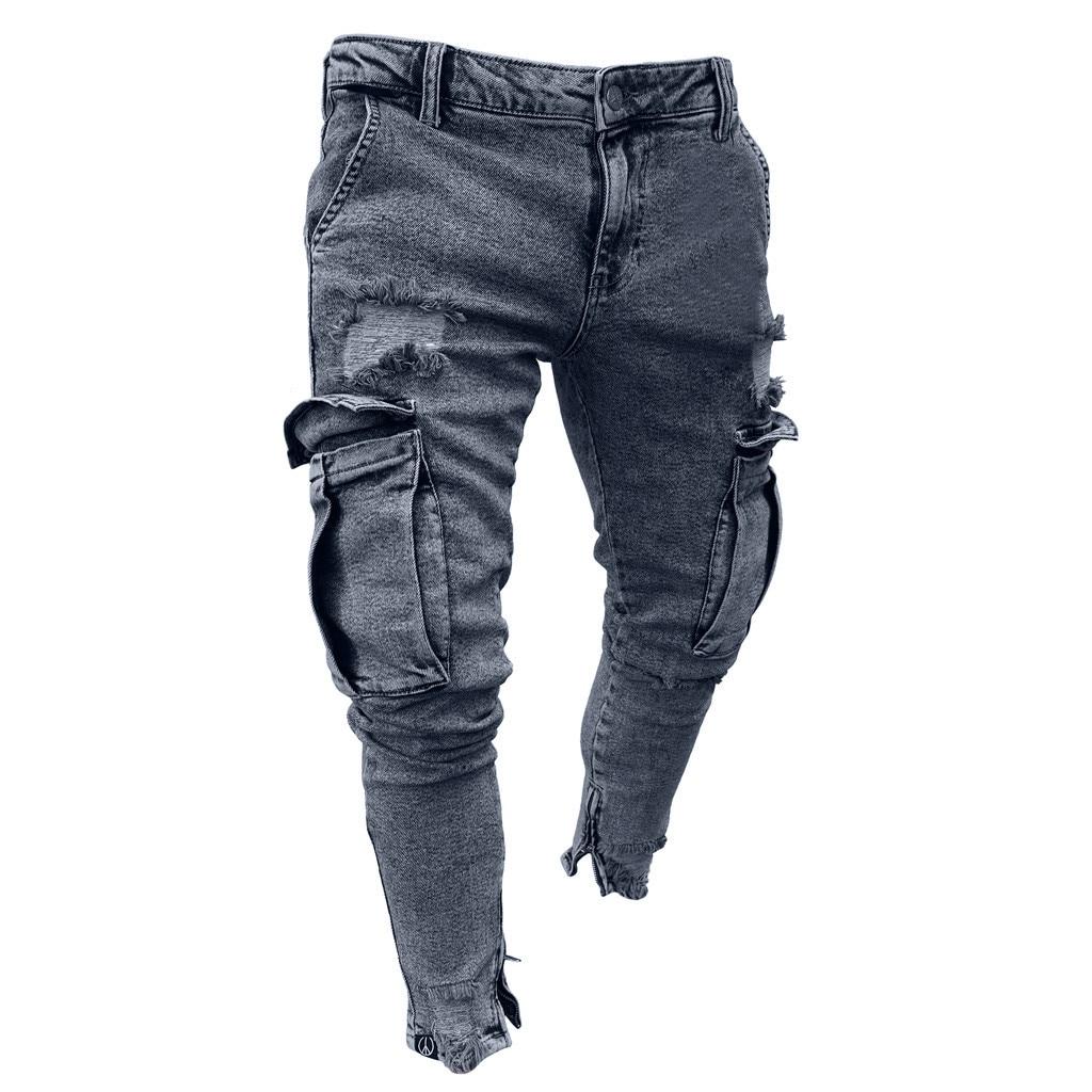 Womail Jeans Men Multi-pocket Bandage Slim Cargo Joggers Trousers For Men Motorcycle Hip Hop Streetwear Swag Denim Men's Pants