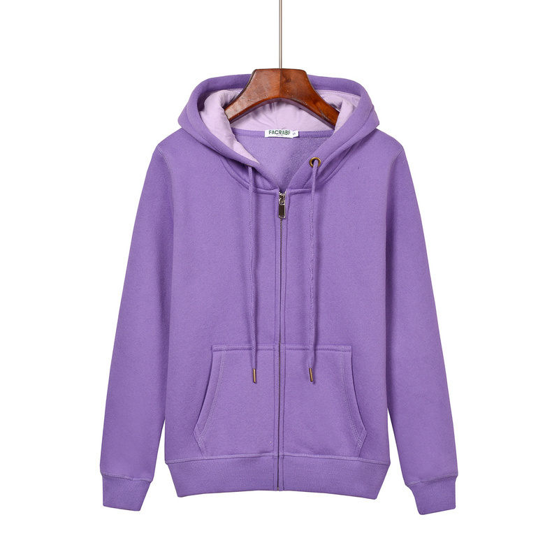 Women's hoodie sweatshirt, fall and winter long sleeved zipper with cap thickening warm jacket warm women's track suit Harajuku