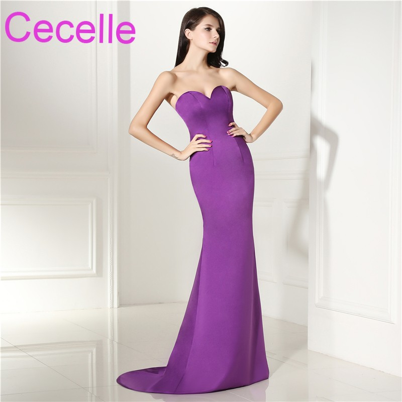 5ad8bca5e472 Simple Elegant Purple Mermaid Long Evening Dress With Sweep Train 2019 New  Designer Women Formal Evening Wear Special Occasion-in Evening Dresses from  ...