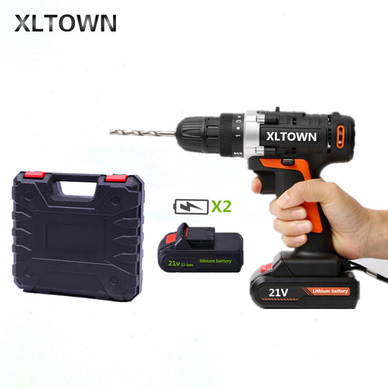 XLTOWN 21V Cordless Electric Screwdriver with 2 battery a box Rechargeable Lithium Battery Hand Drill Electric Drill Power Tools xltown new 21v rechargeable lithium battery electric screwdriver with 2 battery high quality electric drill tools free shipping