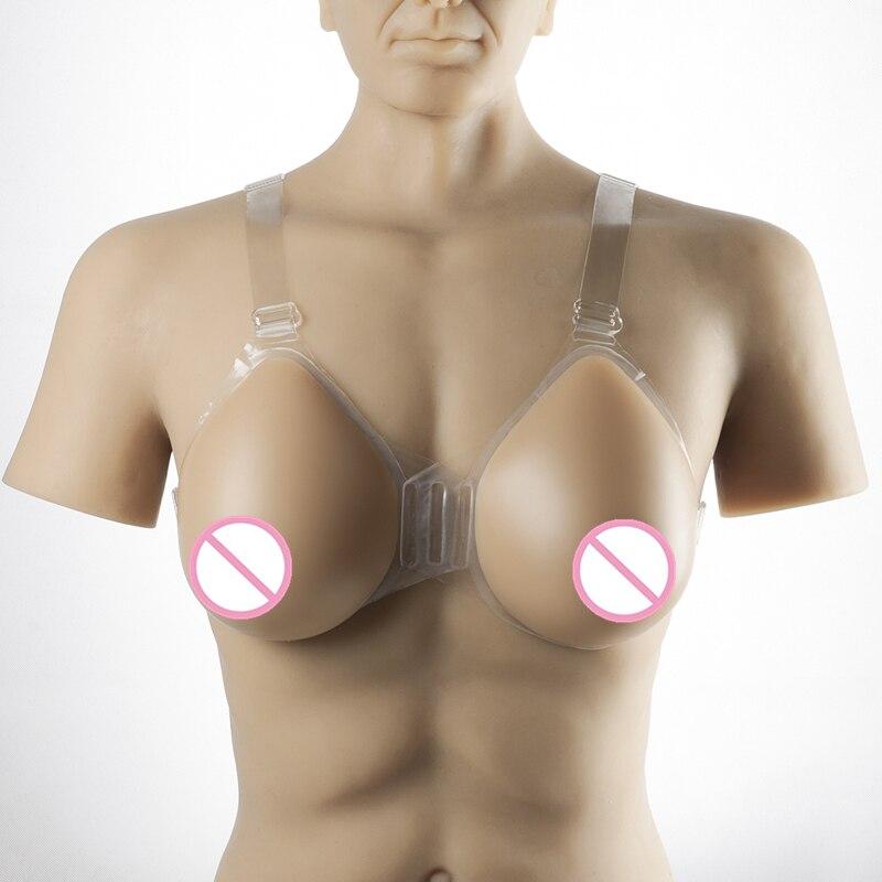 Transgenre et Crossdressing poitrine forme 1200 g/paire sangle-On Silicone faux sein glisser reine transexuelle artificielle faux seins