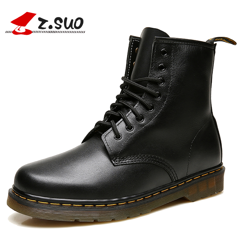 Z.SUO Men's Winter Boots Fashion Retro Genuine Leather Ankle Boots Lace-up Motorcycle Martin Boots For Male botas hombre ZS1460 fashion men s formal martin boots mens leather ankle boots lace up male boots footwear botas hombre spring autumn winter shoe