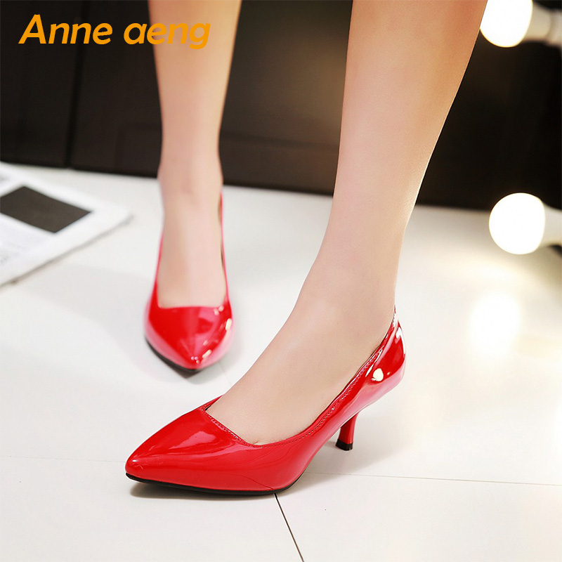 spring women pumps pointed toe slip-on classic elegant office lady high thin heel Red black shoes women big size 44 45 46 2018 new plus big size 33 44 black red peep toe fashion sexy high heel platform spring autumn lady shoes women pumps d1103