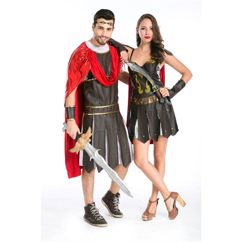 Umorden Halloween fête adulte hommes femmes romain grec soldat gladiateur Costume spartiate guerrier Costumes Cosplay pour Couple 2 ensemble - 3