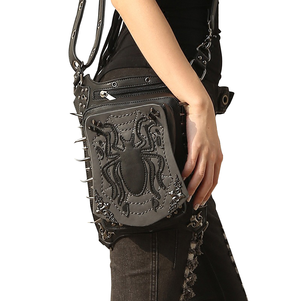 New Black Bag Pu Leather Motorcycle Bag Men And Women Riding Leg Bags Spider Cool Multifunctional Travel Outdoor Mens Wallet