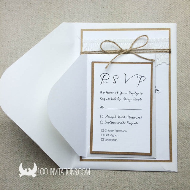 Rustikale Und Vintage Spitze Hochzeit Einladung Set Mit RSVP Karten Und  Umschläge, Zwei Schichten