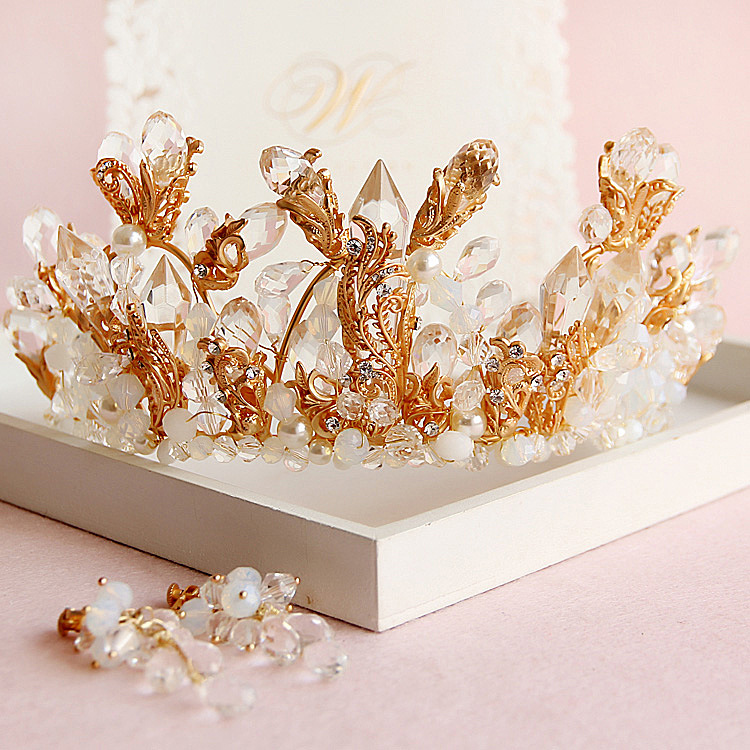 Bridal crown jewelry sets gold bridal earrings wedding hair accessories Baroque crowns crystal tiara big diadem rhinestone pearl flower bridal crowns handmade vintage gold tiara headband crystal diadem crown wedding hair accessories