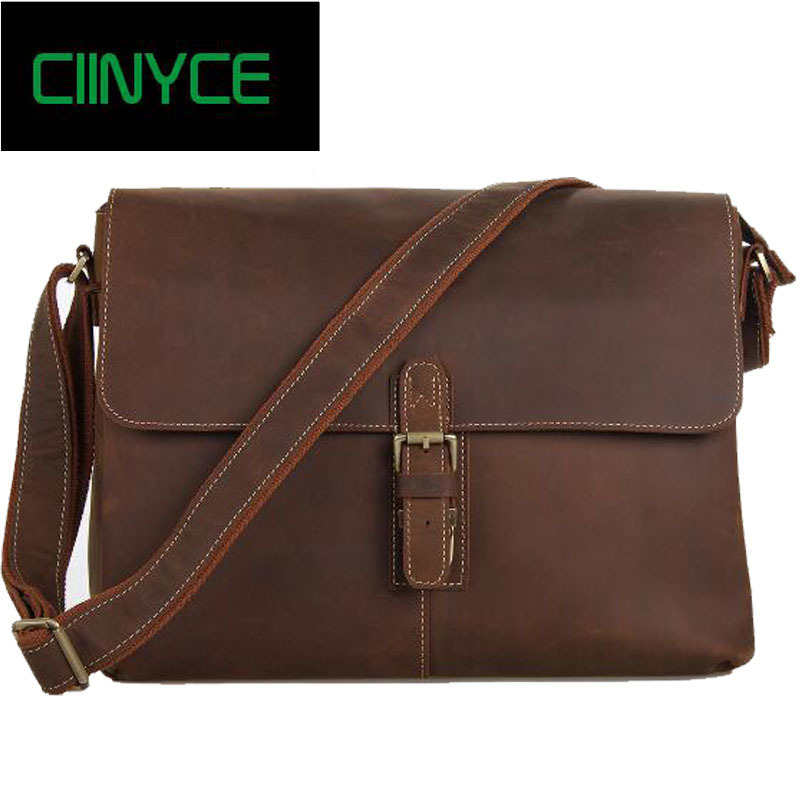 Handmade Mens Real Crazy Horse Leather Briefcase Vintage Style Cowhide Skin Messenger Shoulder 15 inch Laptop Bag Case Handbag professional ly 948v 2 semi automatic lcd separator machine oca screen separating machine with built in vaccum pump