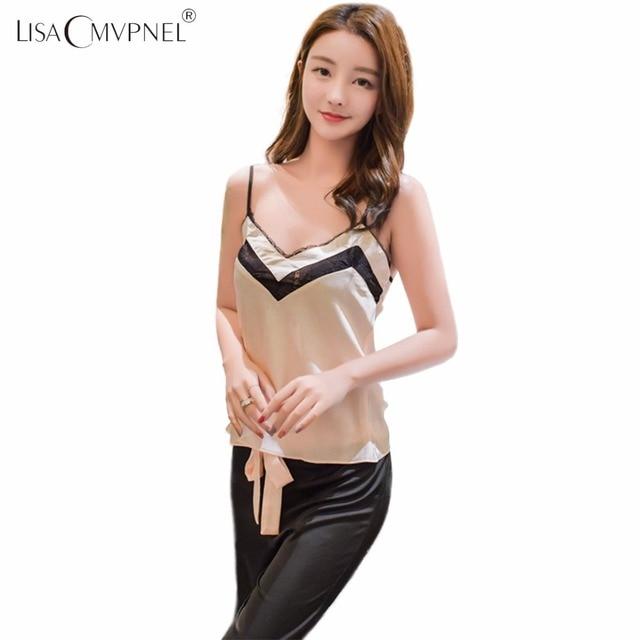 Lisacmvpnel Fashion Outwear Spaghetti Strap Sexy Women Pajama Set  Breathable Female Sleepwear
