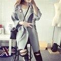 Осень Зима 2016 Мода Длинный Вязаный Кардиган Тонкий Толстые Женщины Пончо Повседневная OutwearD321