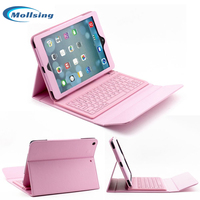 Mollsing For IPad Air 2 Bluetooth Keyboard Case PU Leather Protective Folio Cover Stand For IPad