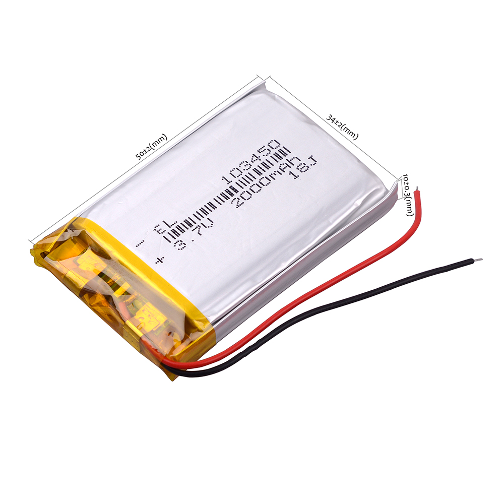 <font><b>3.7V</b></font> <font><b>2000mAh</b></font> 103450 <font><b>Lipo</b></font> Polymer Lithium Rechargeable <font><b>Battery</b></font> For GPS navigator MP5 GPS Bluetooth Speaker headset e-book camera image
