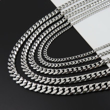 Oulai777 stainless steel curb cuban mens necklace link gifts for accessories women punk long chains necklaces & pendants