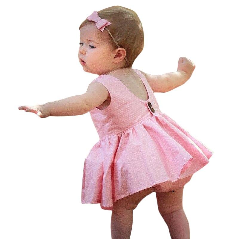NWAD Princess Baby Girls Clothing Set Baby Kids Polka Dot Sleeveless Clothes Sets Newborn Pink Dress +Short Pants FF318