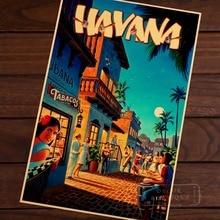 Havana Capital of Cuba Map Classic Vintage Retro Kraft Decorative Poster Maps Travel Posters Wall Canvas Sticker Decor Gift